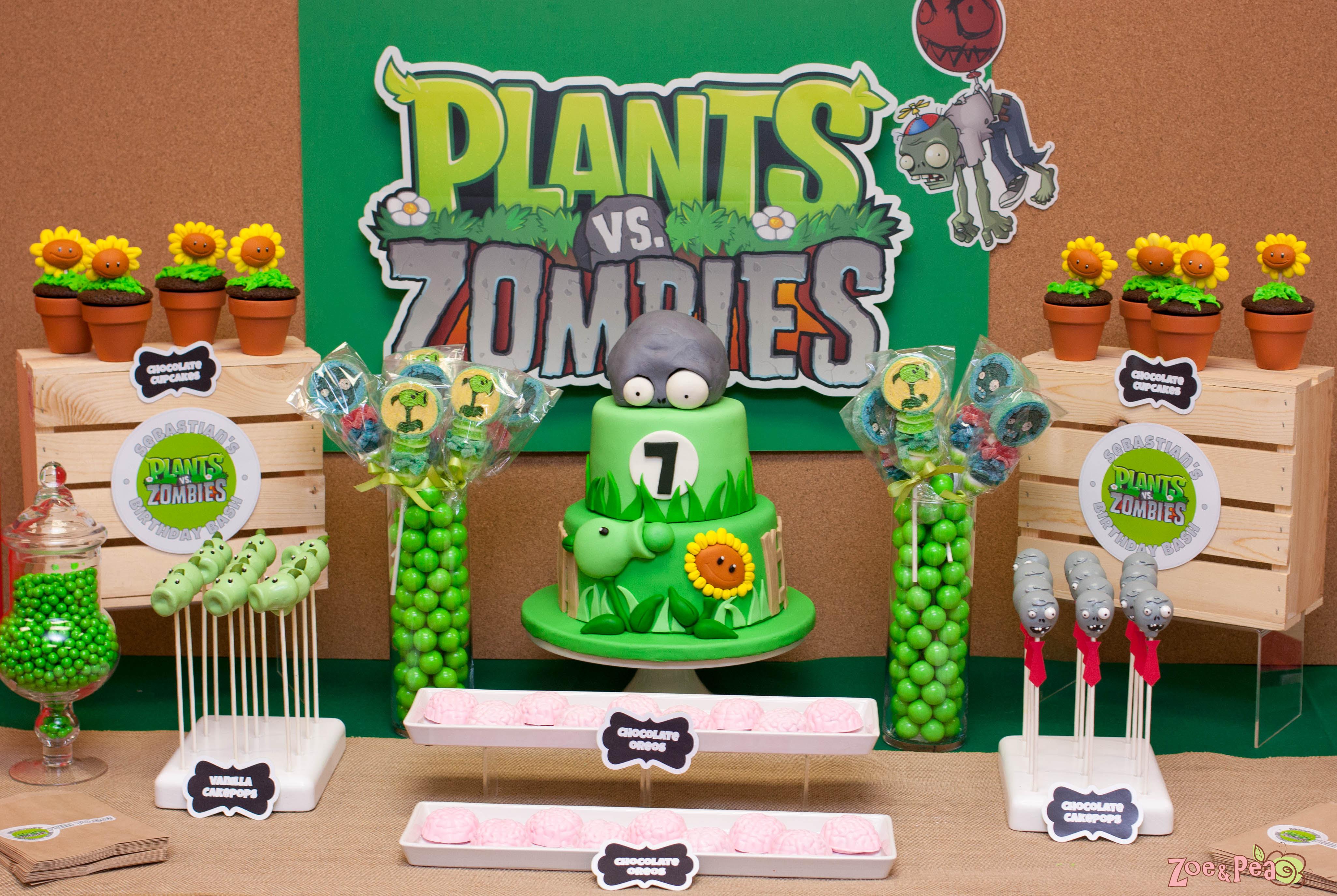 Plants Vs Zombies Birthday Zoe Pea Sweets